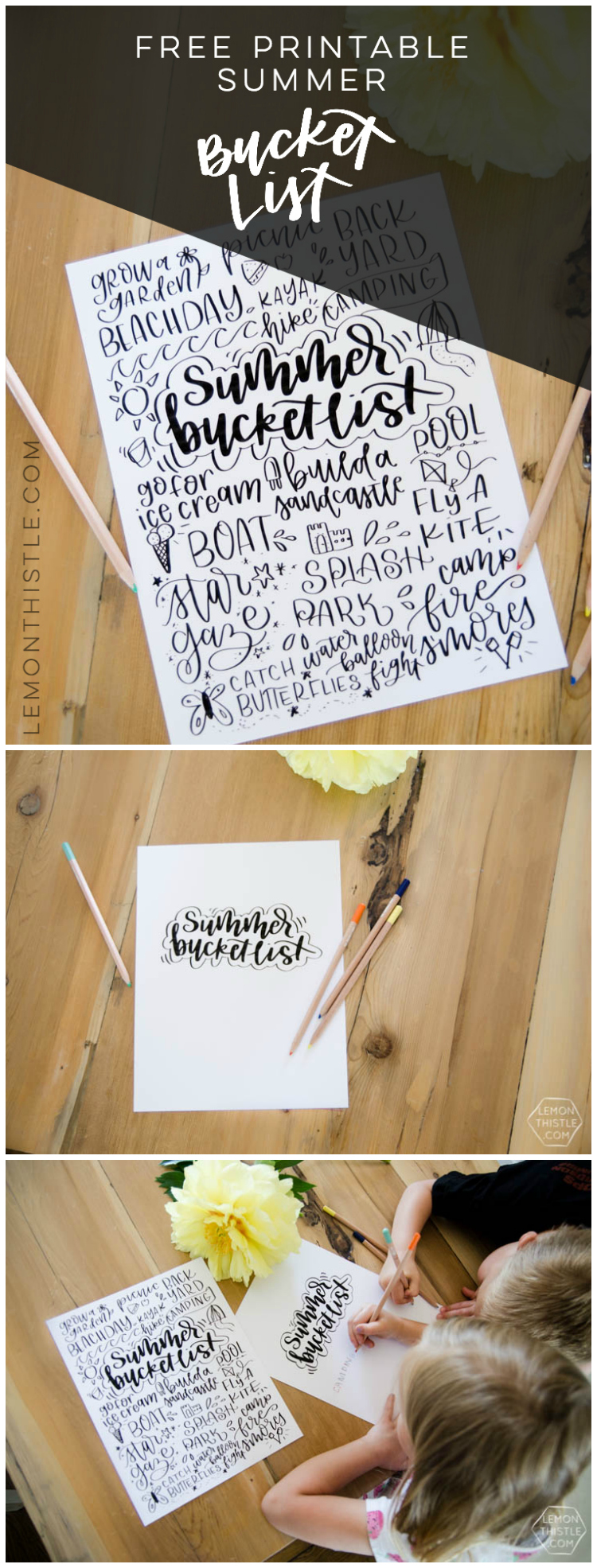 Hand lettered printable summer bucket list! I love this one- such great activities for kids. Plus- I like that there's a blank version for me to make my own!