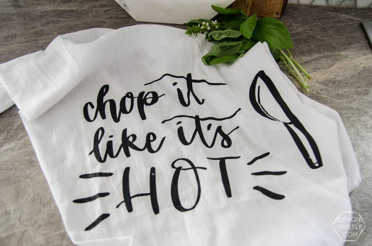 Chop it like it's hot... I LOVE these handlettered punny tea towels! lemon thistle x shindig shop