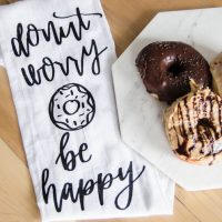 Donut Worry, Be Happy... I LOVE these handlettered punny tea towels! lemon thistle x shindig shop