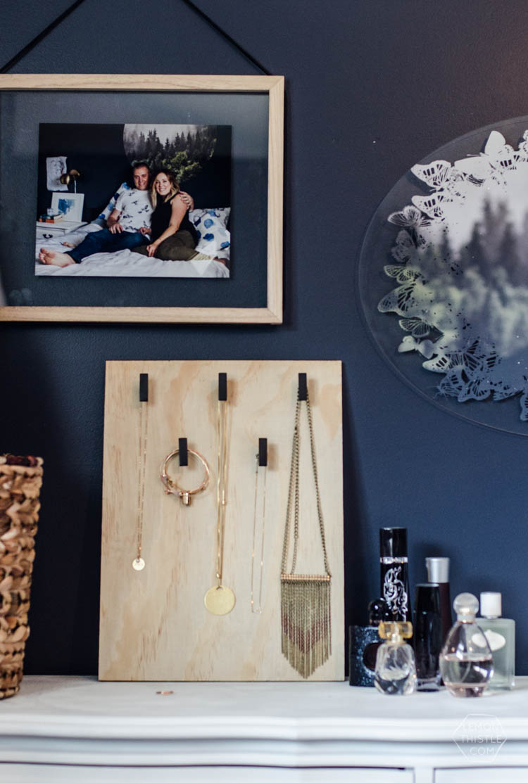 Modern DIY Necklace holder made with cabinet hardware (plus more DIY ideas using hardware)