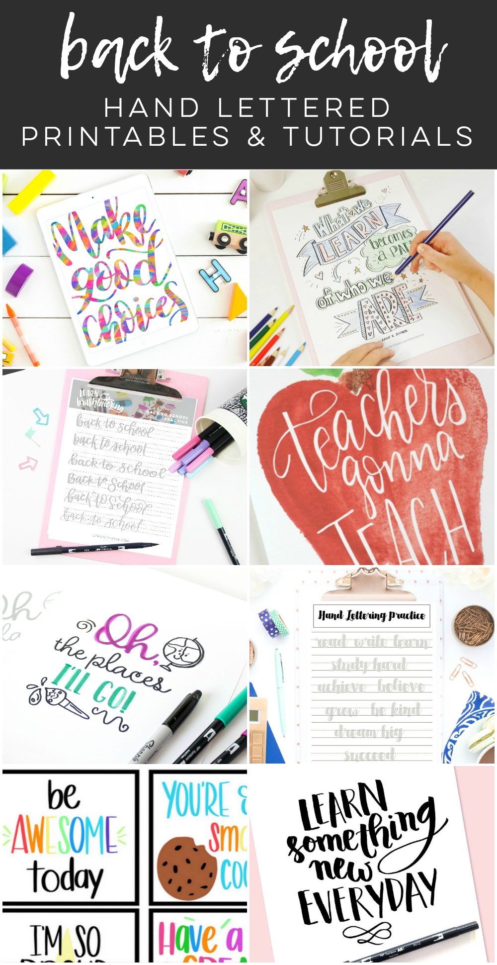 picture about Brush Lettering Practice Sheets Printable called Printable Brush Lettering Teach Sheet- Back again Towards Faculty