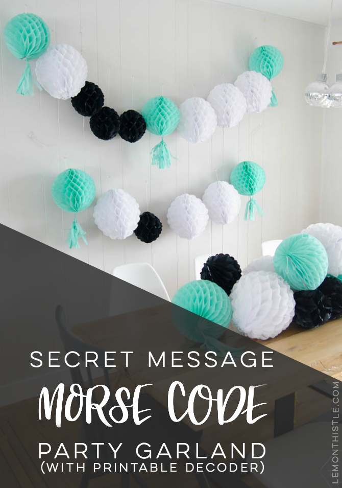 DIY Secret Message Morse Code Party Garland- with a printable decoder... this is such a fun idea! Perfect for a gender reveal