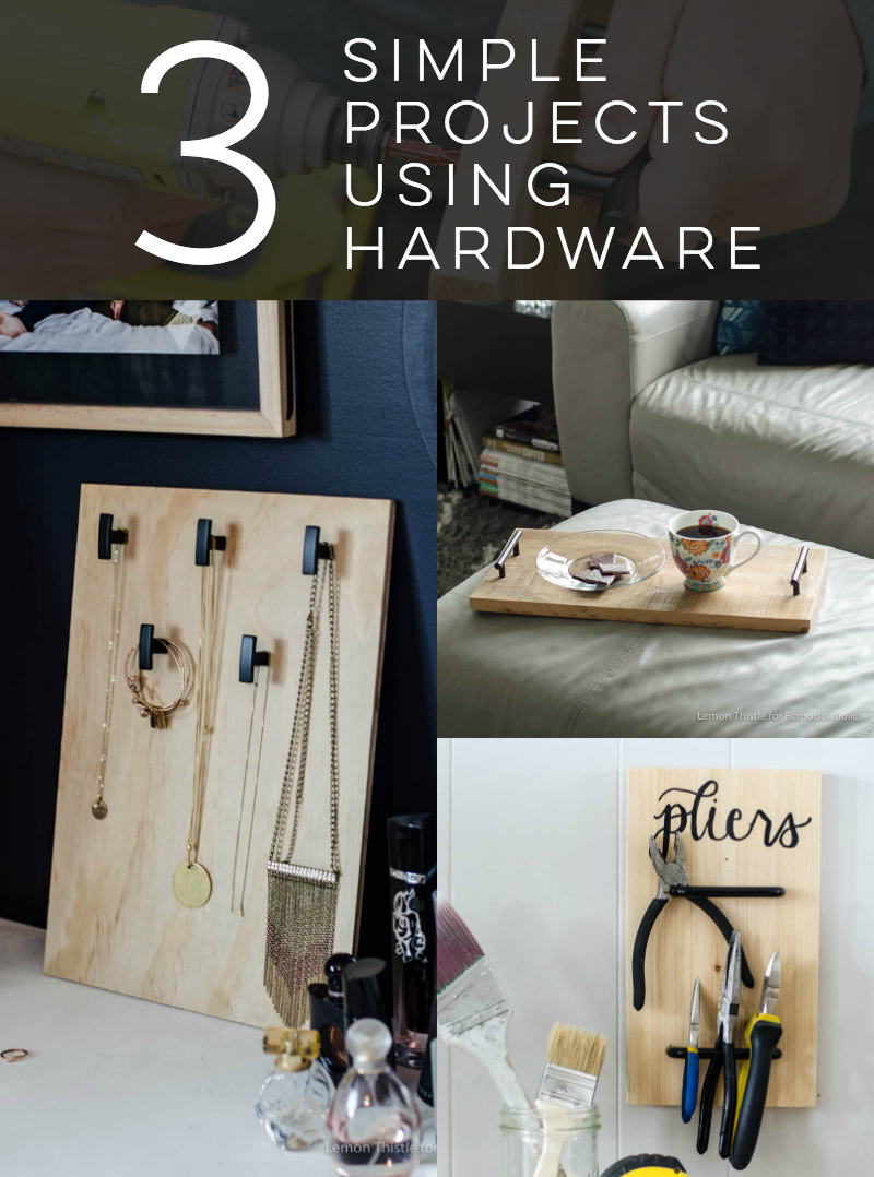 3 Simple Projects using cabinet hardware... love these ideas!