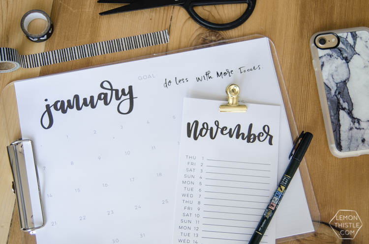2018 Printable Calendars- Hand lettered script- so minimal and modern! Love how simple and elegant they are.