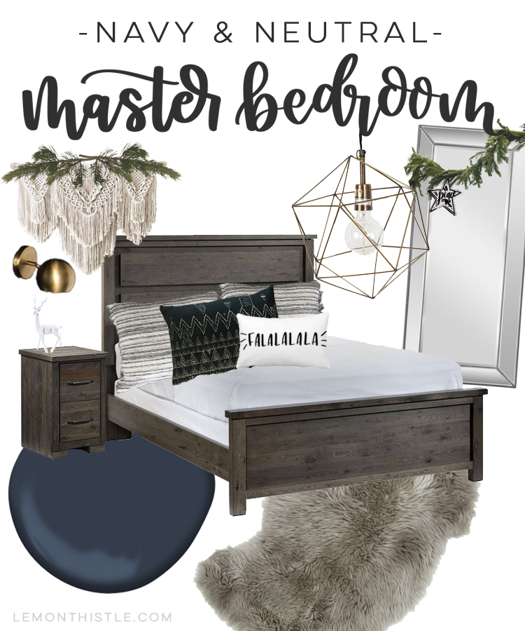 Navy and Neutrals Master Bedroom for the Holidays