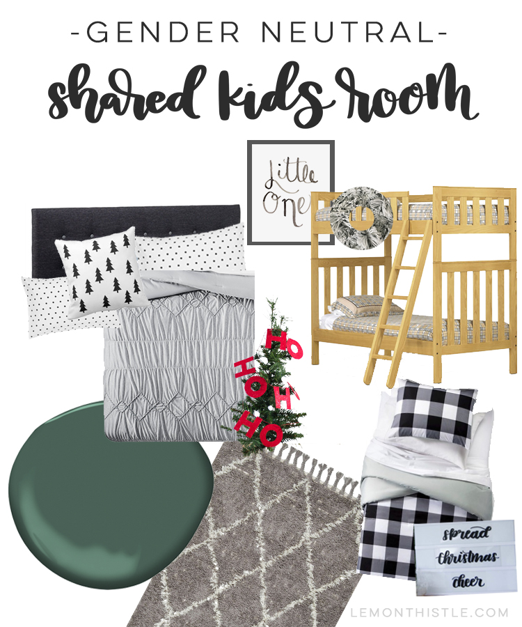 Gender neutral shared kids room for the holidays