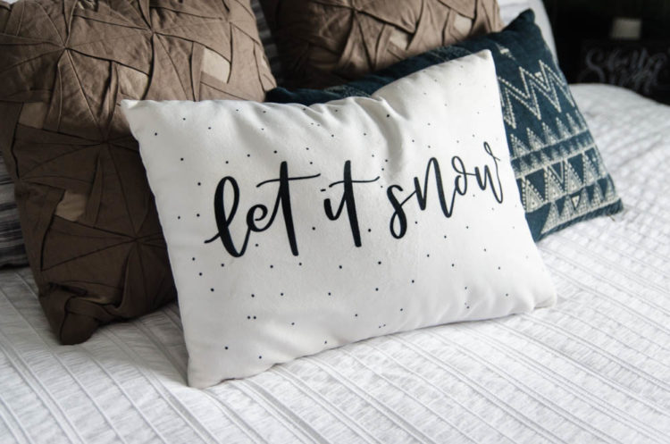 Let it Snow! Handlettered Holiday Throw pillow- love this elegant christmas lettering!