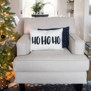 Ho Ho Ho! Handlettered Holiday Throw pillow- love this playful christmas lettering!