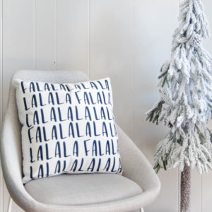 Falala Handlettered Holiday Throw pillow- love this playful christmas print!