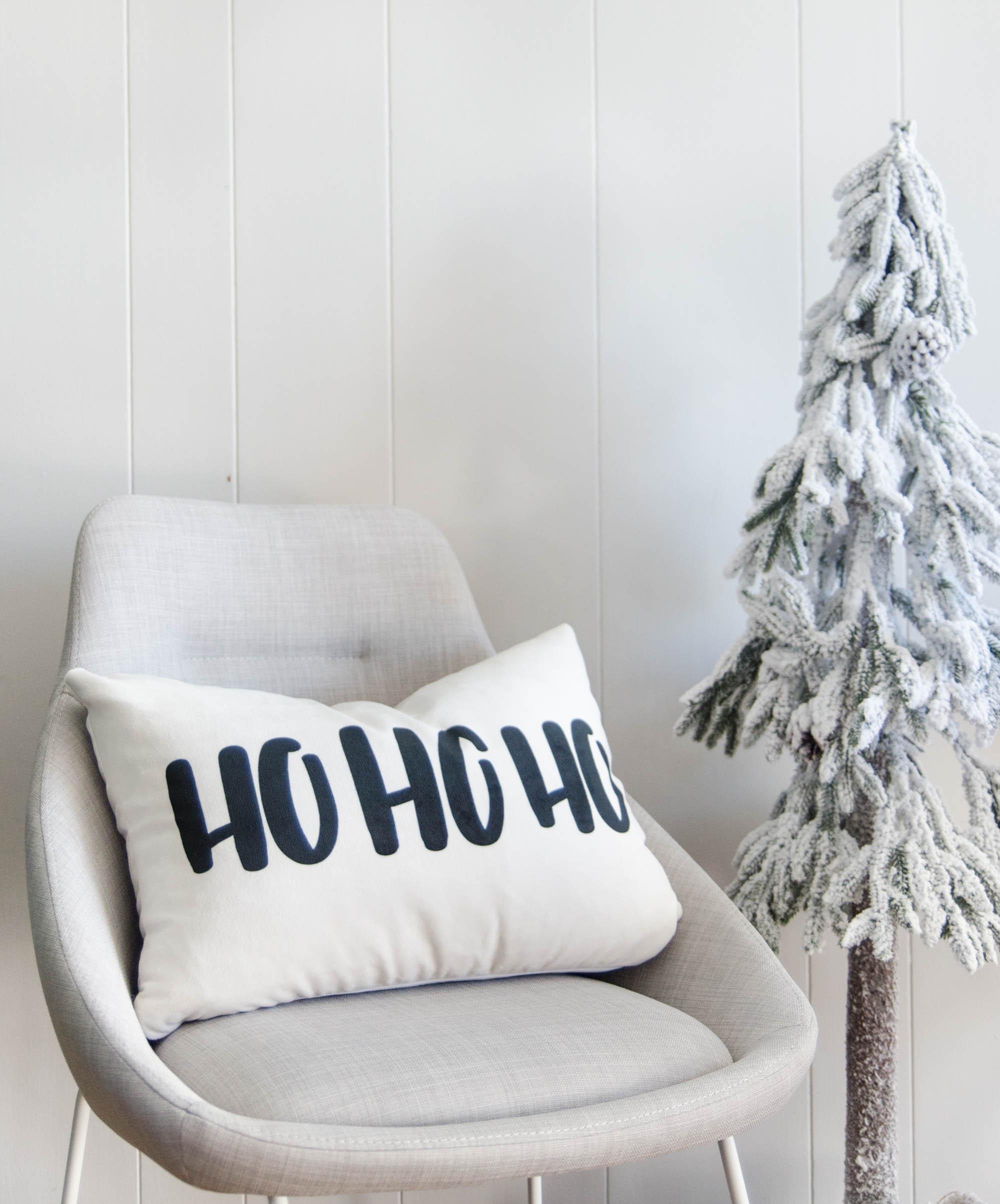 HO HO HO! Modern Hand lettered Holiday Pillow- Velveteen Soft - Lemon Thistle