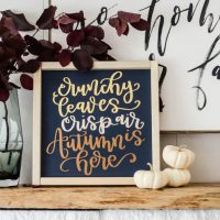 DIY Handlettered Autumn Sign in Matte Foils