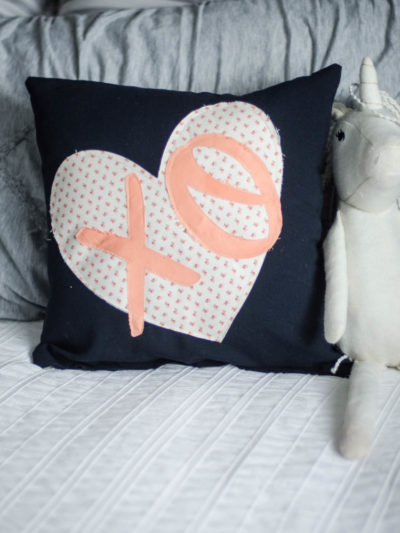 XO Heart Applique Pillow