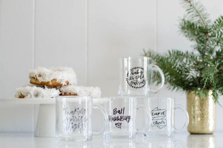 Clear Glass Holiday Mugs- Love the hand lettering on this set!