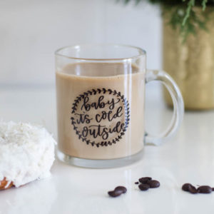 Baby it's cold outside! I love this handlettered holiday mug! Perfect Christmas gift.