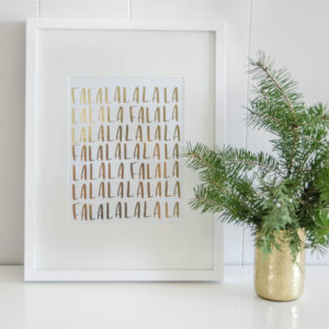 Fa La La Gold Foil Holiday Print 8x10