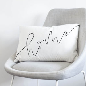 home- black and white hand lettered throw pillow cover- velveteen soft