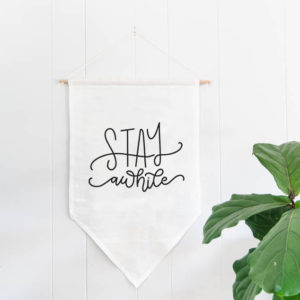 Linen Banner- stay awhile. I love the hand lettering on this farmhouse style wall hanging