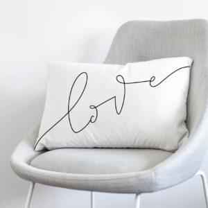 love- black and white hand lettered throw pillow cover- velveteen soft