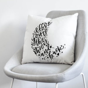 love you to the moon and back hand lettered throw pillow cover- perfect for a nursery
