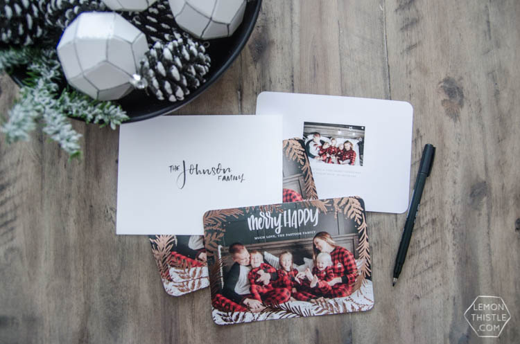Rose gold foil holiday cards with hand lettered overlay