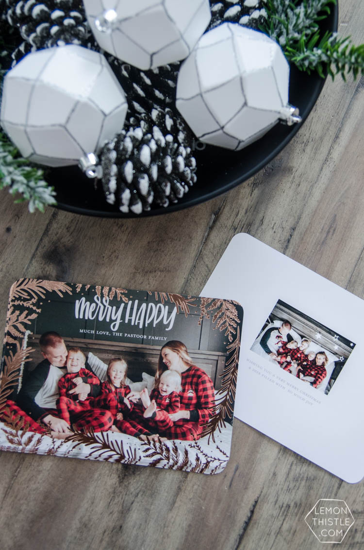 How to add your own (handlettered!) design to photo cards for the holidays- plus free download of my Merry Happy design