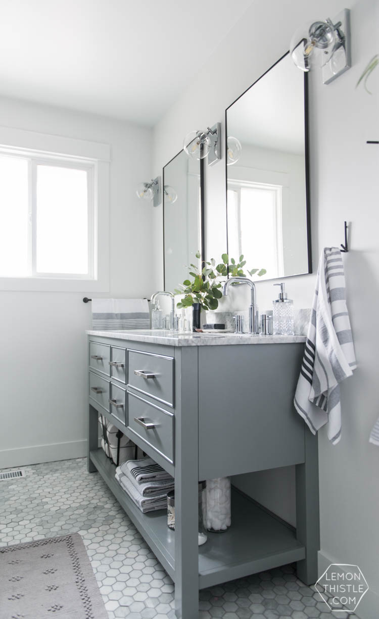 Classic Bathroom Makeover with marble hexagon tile and Modern Details- love the matte black with the chrome!