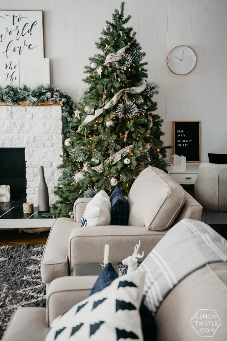 Hello Holiday- Christmas Living room in cozy neutrals & frosted greens