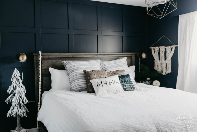 Holiday Master Bedroom- Navy and Textured