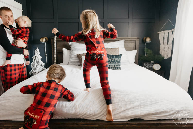 Holiday Master Bedroom- Navy and Textured Lifestyle Family Shots