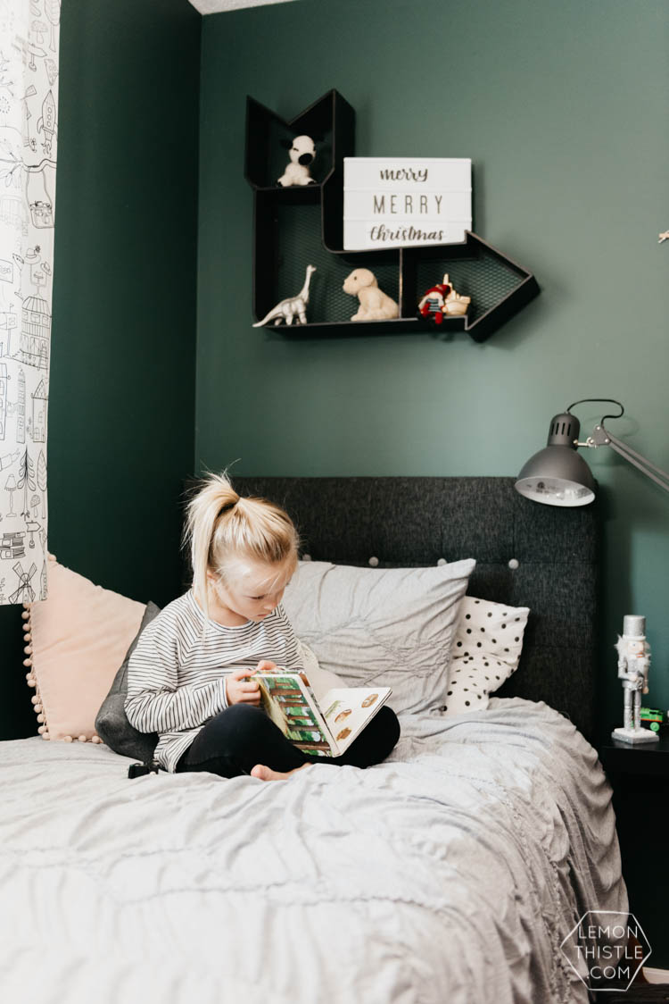 Cozy Shared Kids Room- all decorated with modern christmas decorations