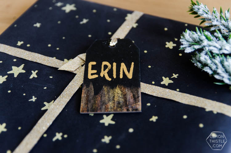 DIY Black and Gold Foil Brush Strokes Gift Tags- I love this foil technique! Perfect for holiday gifts