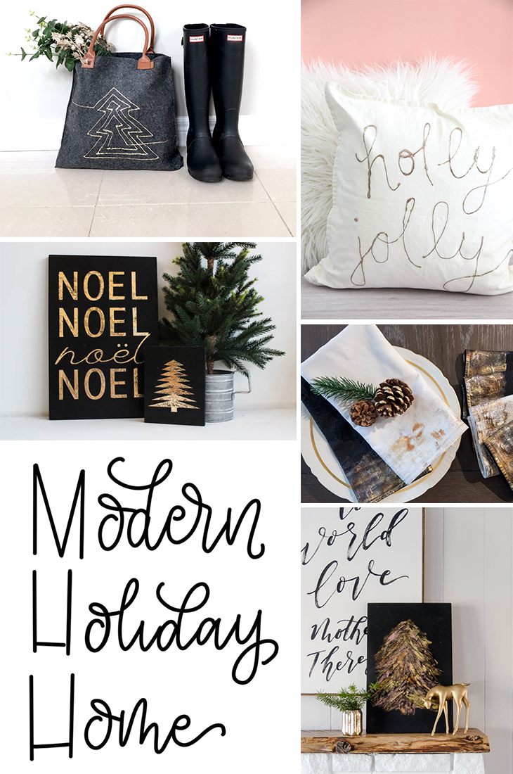 Modern Holiday Home FOIL projects... love this stuff! I can't believe you can put it on fabric too