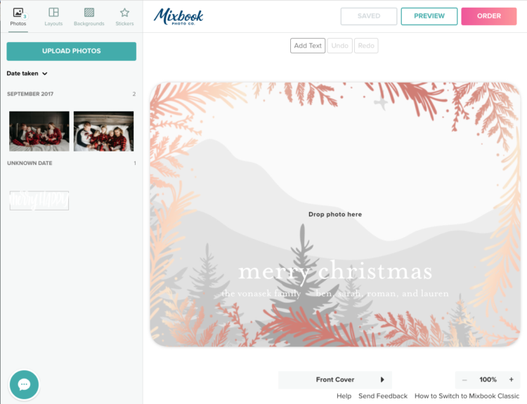 add your own hand lettered overlay to a foiled holiday card