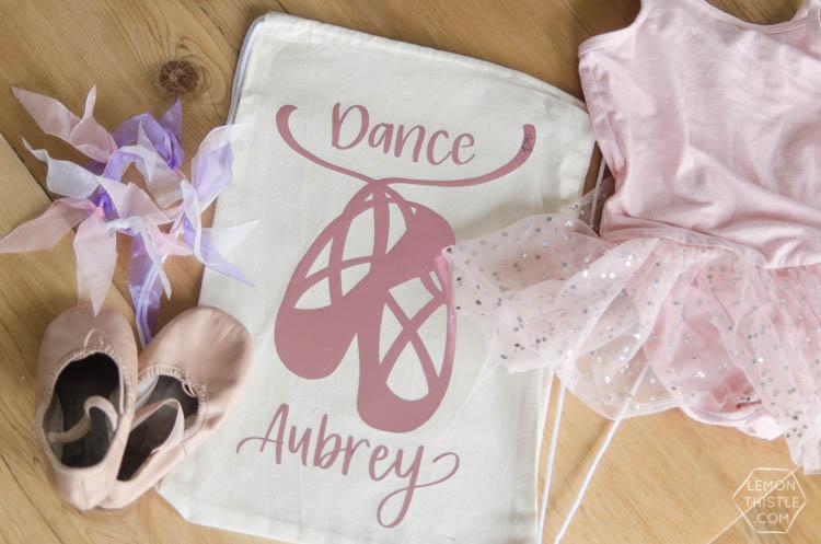 DIY Dance Bag with metallic iron on (free design!)
