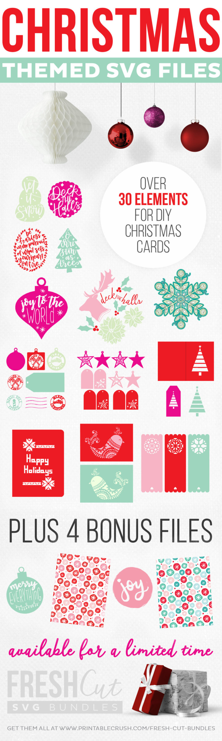Rad Holiday Cards- SVG Cut Files available for a limited time in a bundle deal