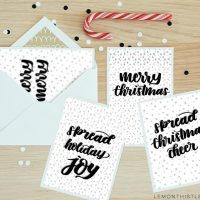 4 Free Printable Holiday Cards- love the handlettered modern style of these!