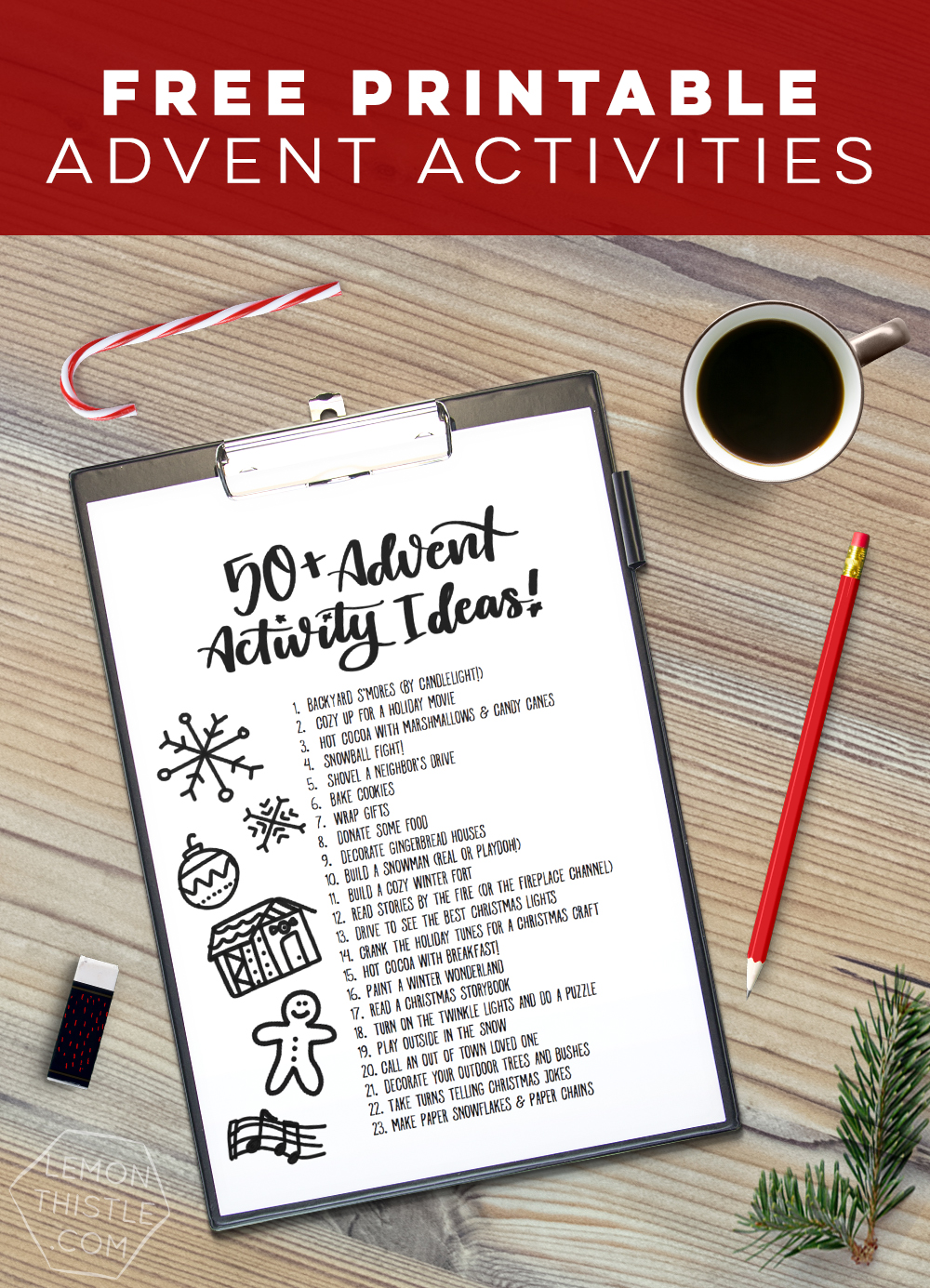 50+ Advent activity ideas! I am always stuck for ideas so this free printable is perfect to have on hand for the countdown to Christmas