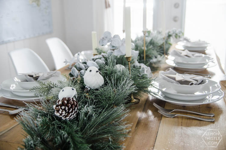Frosted Holiday Tablescape Lemon Thistle