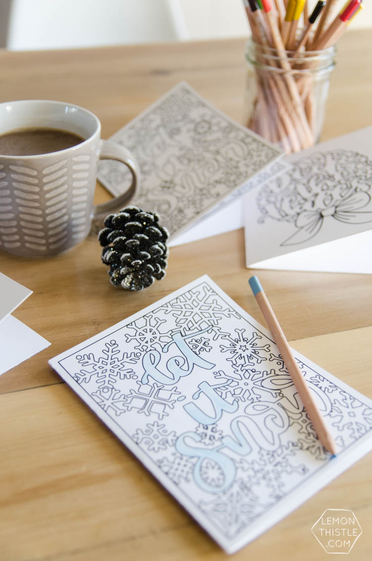 Free Printable Holiday Colouring Cards- l love these designs! Perfect last minute Christmas card or advent activity