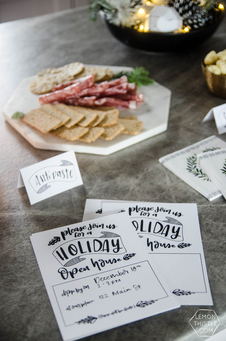 Holiday Open House- Modern Handlettered Free Printable Invitations and tent cards- perfect for a casual Christmas party!