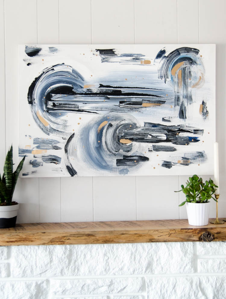 DIY Abstract painting on canvas- a beginner tutorial... I love this large scale art! Way more affordable to make it yourself
