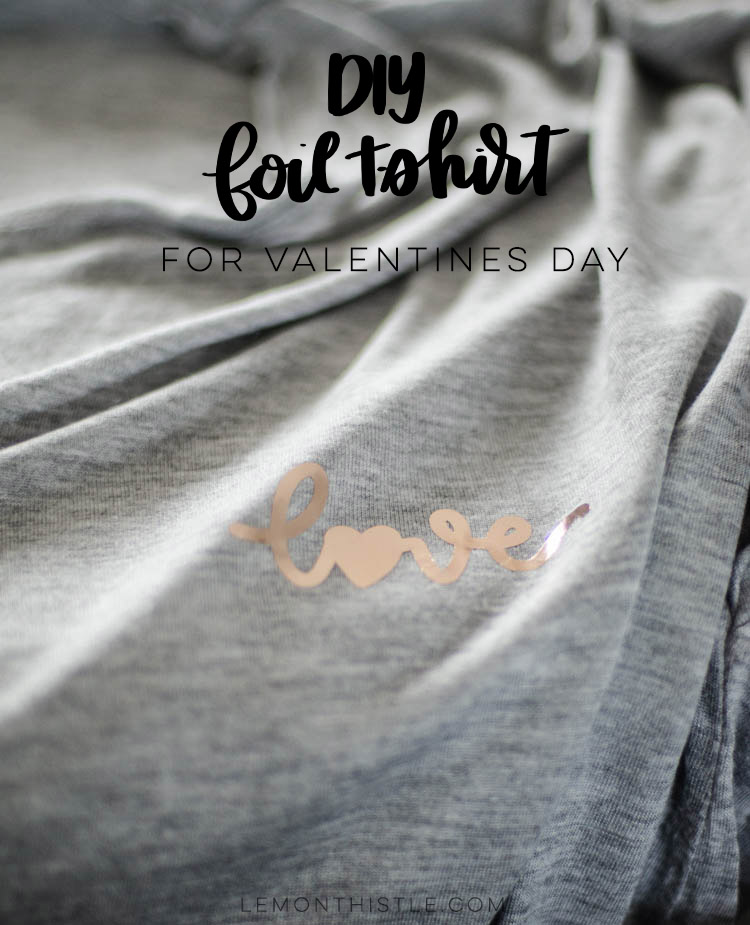 Love Design in rose gold foil on grey tshirt