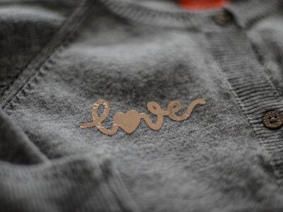 Grey Cardigan with handlettered love design in rose gold foil