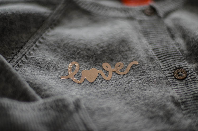 Grey Cardigan with handlettered love design in rose gold foil