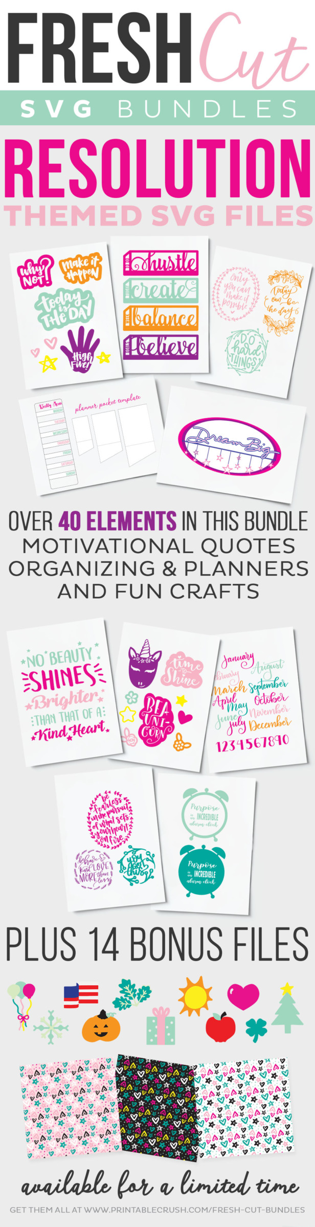Love these SVG files! All those handlettered inspirational quotes and planner elements. perfect for the new year!