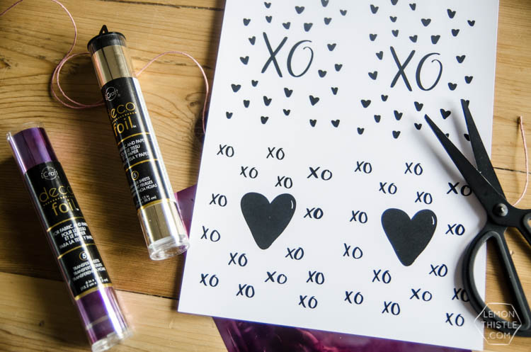 DIY Foiled Valentines Day Cards- I love that purple foil! Plus I love that you can do this with a simple laminator