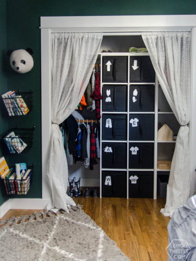 DIY Closet Organization- Ikea Storage Bin Labels... what a great storage solution! I love how it hides the closet clutter and kids can visually see where to put clothes away