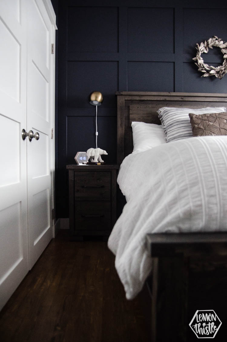 Navy Master Bedroom With Diy Accent Wall Lemon Thistle