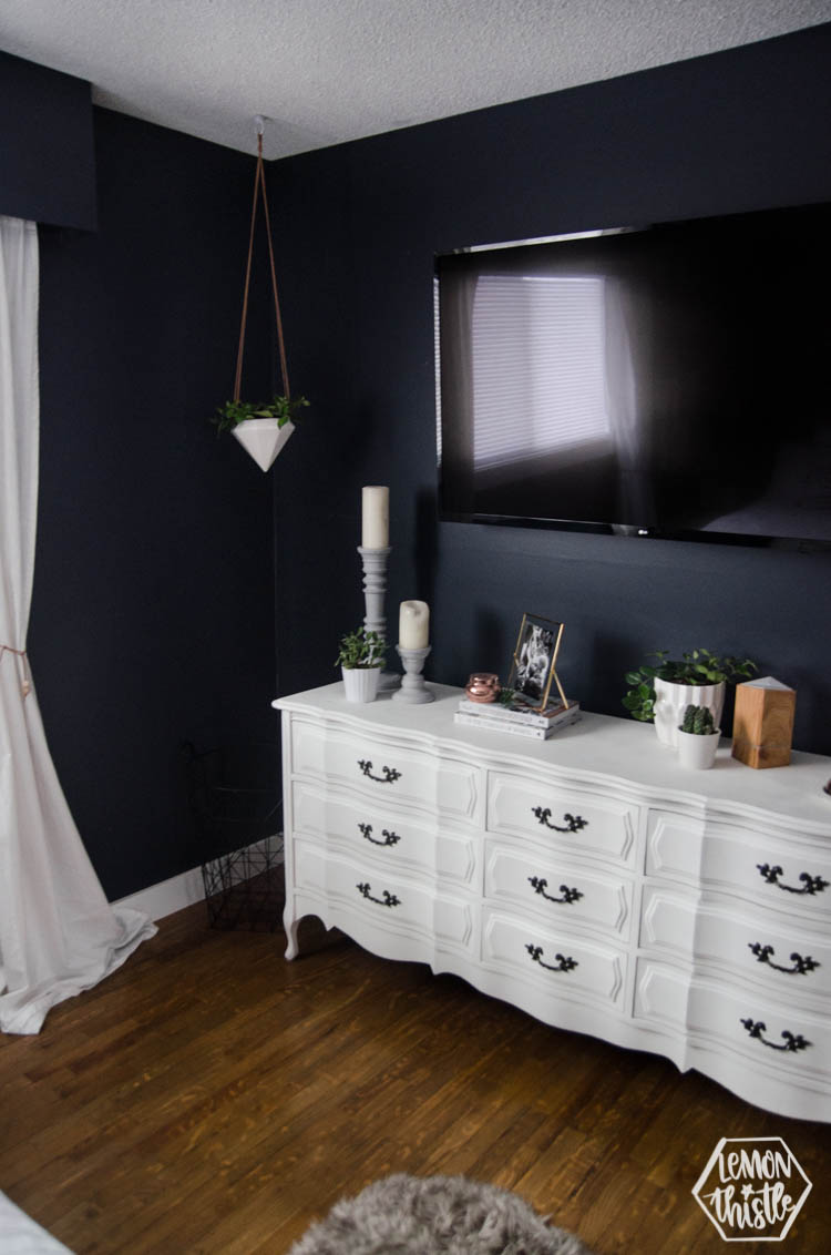 Navy Master Bedroom with DIY Accent Wall - Lemon Thistle