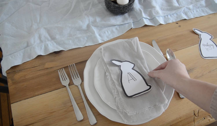simple monogrammed easter bunny table setting